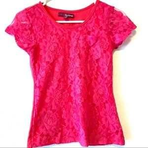 Epic Threads Large 7 T-Shirt Pink Lace Floral Girl